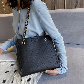 Large Diamond Lattice Chain Crossbody Bag for Women Hand Bag 2020 Leather Plaid Shoulder Tote Bag Big Size Female Messenger Bags women quilted chain shoulder bag wide strap plaid messenger handbag female leather tote bags small diamond lattice crossbody bag