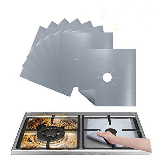 1/4PC Stove Protector Cover Liner Gas Stove Protector Gas Stove Stovetop Burner Protector Kitchen Accessories Mat Cooker Cover 4