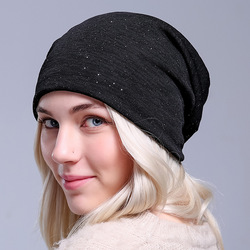 Autumn Thin Beanie Hat Winter Hats For Women Fashion Lady Bonnet Sequined Pullover Hat Summer Breathable Pile Turban Caps Hood