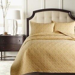 2019 beżowy złoty prosty pikowanie prześcieradło drukuj bawełna szwy Bedlinens Coverlet 3 sztuk narzuta komplet poszewki na poduszki