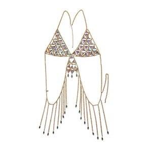 Image 5 - Nowy Boho Rhinestone łańcuchy ciała plaża gwiazda Bikini stanik z łańcuchami moda urok uprząż akcesoria do ciała biżuteria dla kobiet i dziewcząt