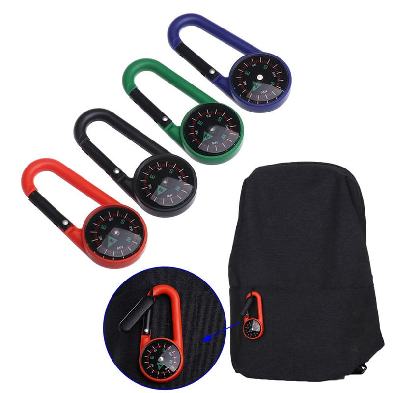 Mini Portable Compass Carabiner + Carabiner Pointer Guides Compasse Keychain Climbing  Equipment #2g30