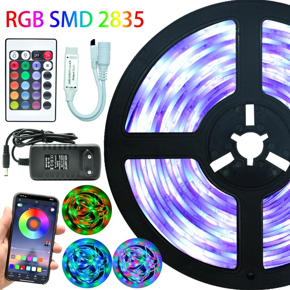 Ampoules LED lumières Bluetooth Tira De Luces Led RGB 2835 SMD étanche Flexible lampe bande DC 12V 5M 10M 15M 20M contrôle + adaptateur