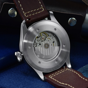 Image 5 - San Martin Pilot Men Mechanical Stainless Steel Watch Sapphire See through Case Back Luminous Leather Strap 100M Waterproof