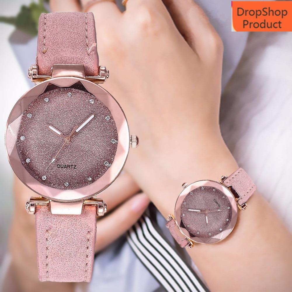Women Watch Ladies Fashion Korean Rhinestone Rose Gold Quartz Watch Female Belt Watch Reloj De Mujer Clock Dress 2019 Gift Q