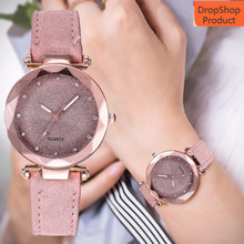 Women Watch Ladies fashion Korean Rhinestone Rose Gold Quartz Watch Fe