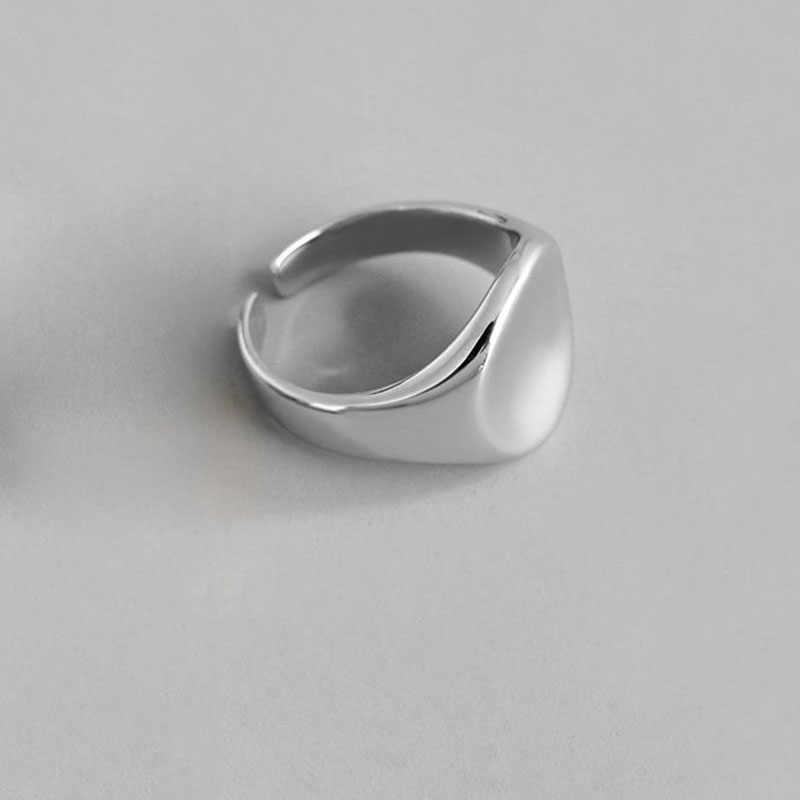 XIYANIKE 925 فضة العصرية هندسية دائري حلقات اليدوية مجوهرات للنساء الزفاف زوجين حجم 17 مللي متر قابل للتعديل