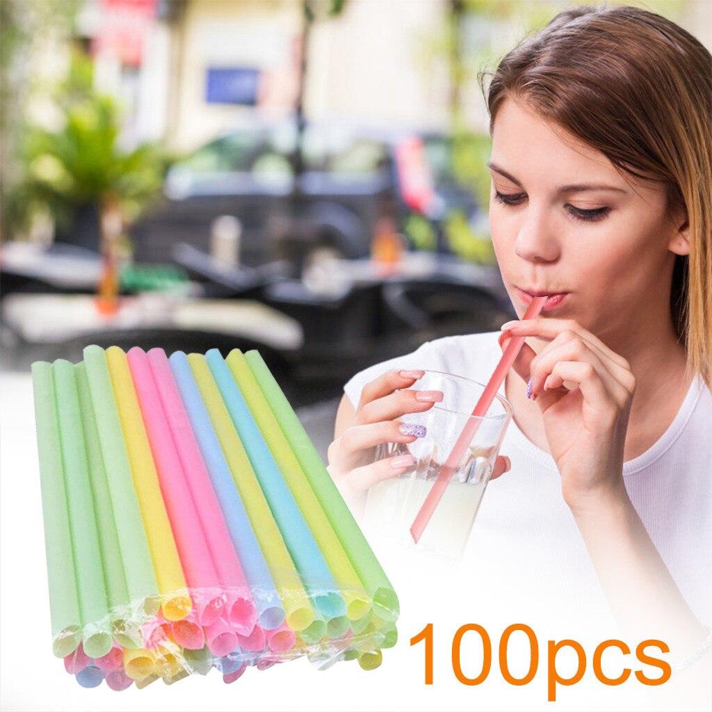 100 шт Красочный Большой питьевой разноцветные соломинки Цвета для жемчужный молочный чай смузи вечерние пластиковые 21 см x 1 см бар аксессуа...