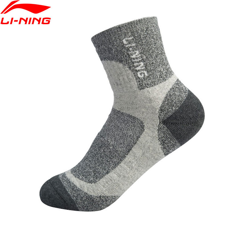 Li-Ning Women Training Mid-cut Socks Cushioned Sweat-wicking LiNing Breathable Sports Socks AWSP302 NWW256