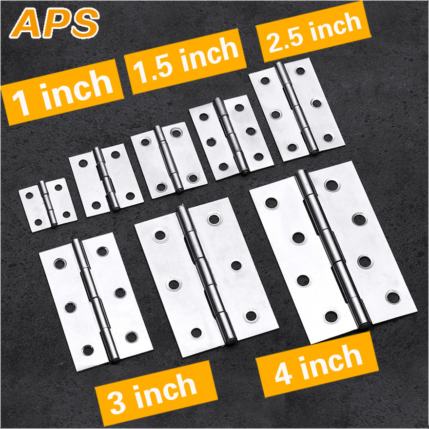 2Pcs Stainless Steel Flat Hinge Cabinet Doors 1 Inch 1.5 Inch 2inch 2.5 Inch 3inch 4inch Windows Hinge Wooden Box Mini Hinge