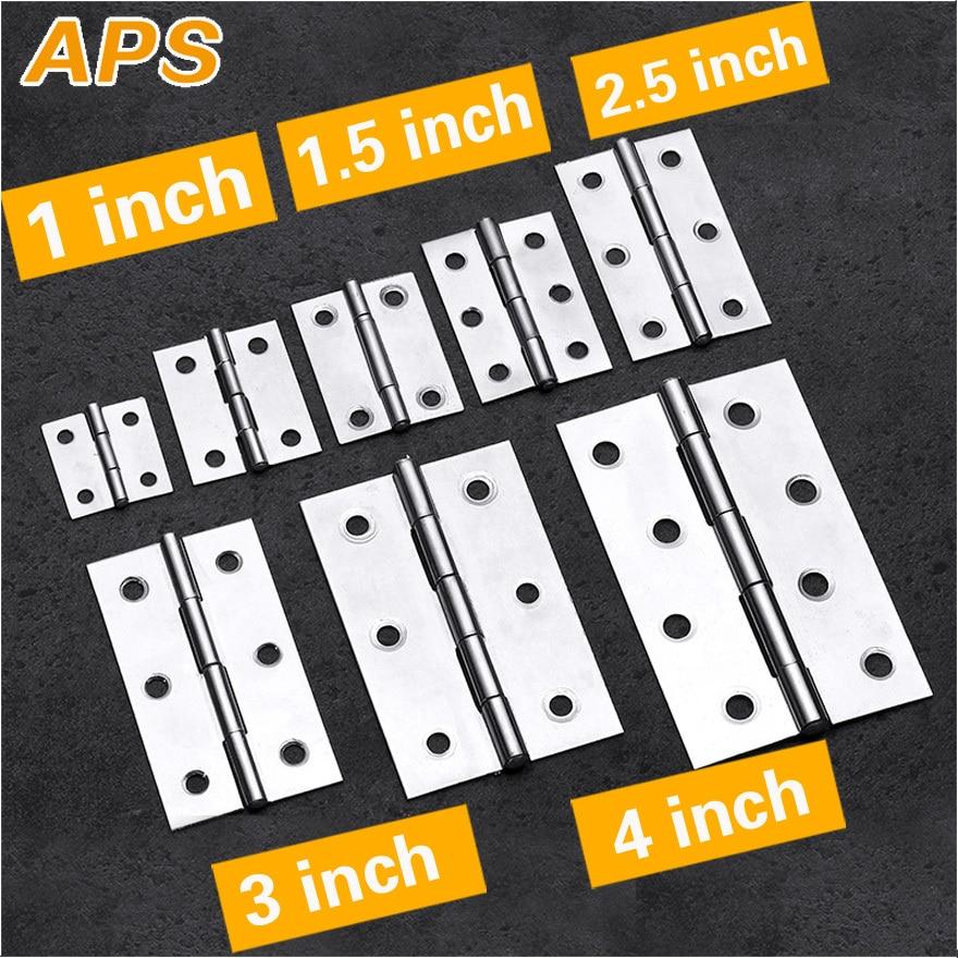 2Pcs Stainless Steel Flat Hinge Cabinet Doors 1 Inch 1.5 Inch 2inch 2.5 Inch 3inch 4inch Windows Hinge Wooden Box Mini Hinge
