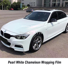 Highest quality satin Pearl White Chameleon Vinyl Wrap Pearl Car wrapping film Bubble Free Car styling 5m/10m/18m