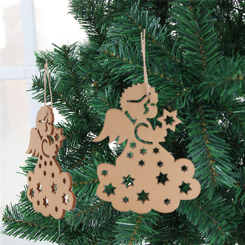Christmas Pendants With Burlap Ropes Unfinished Wooden Slices Crafts Hanging Ornaments For Xmas Bar Shop Decor 10pcs/ lot