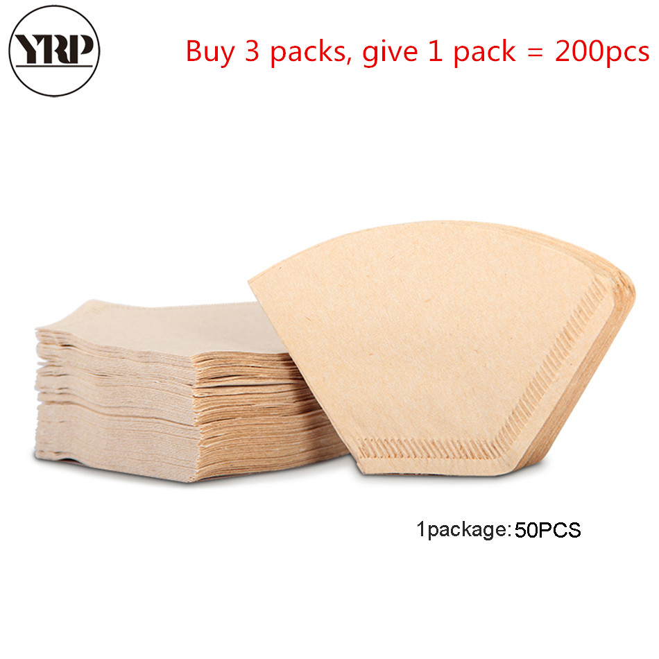 YRP 50Pcs/Bag Wooden Original Hand Drip Paper Coffee V60 Fan-shaped Filter Espresso Coffee Filters Packs Tea Bag Strainer Filter
