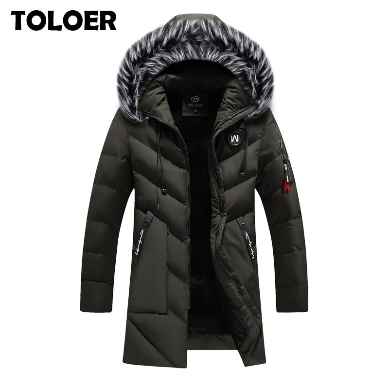 Мужское пальто Повседневная Длинная Куртка мужской Тренч с меховым капюшоном