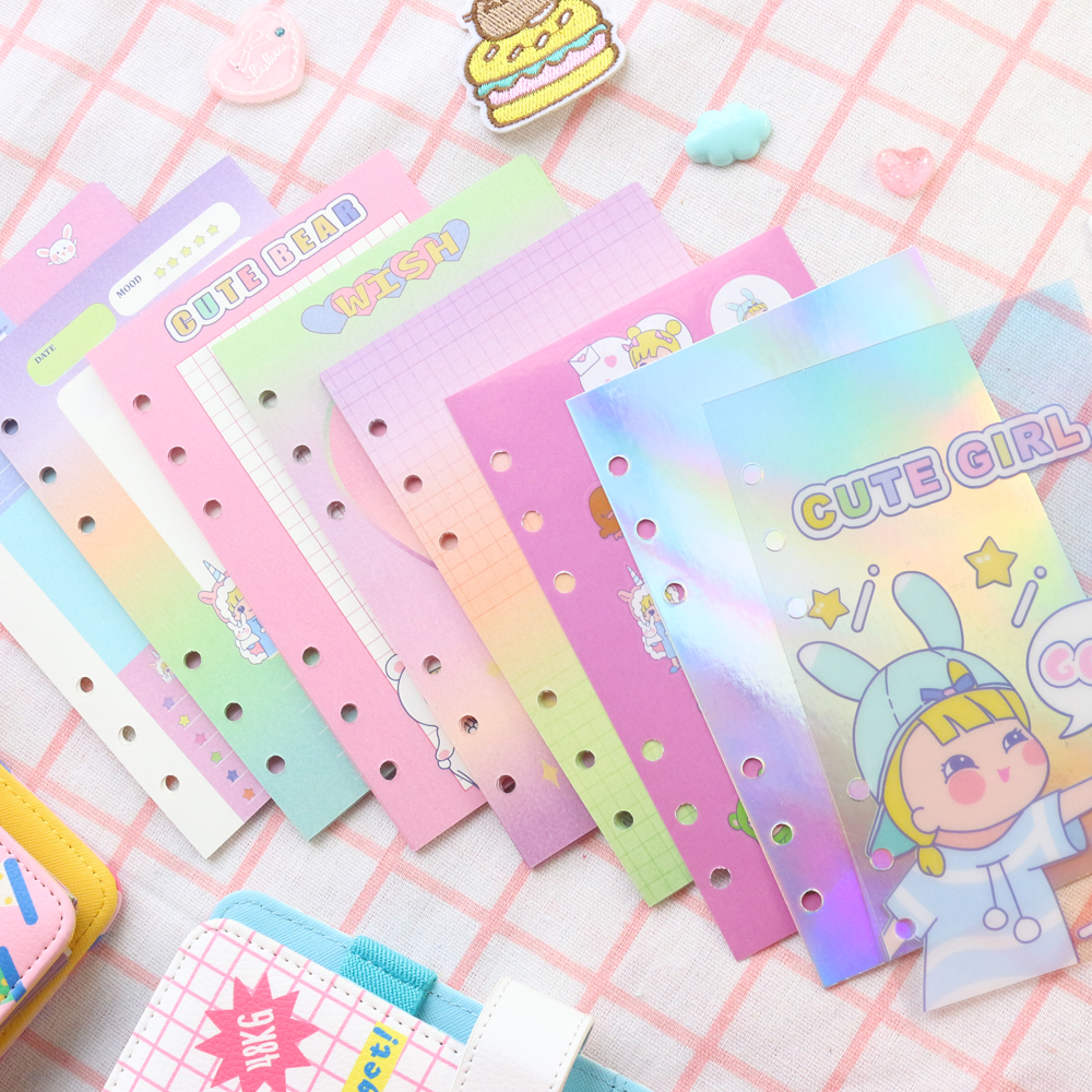 Domikee A6 cute creative laser Korean 6 holes cartoon filling inner sheets for refillable binder spiral notebooks stationery