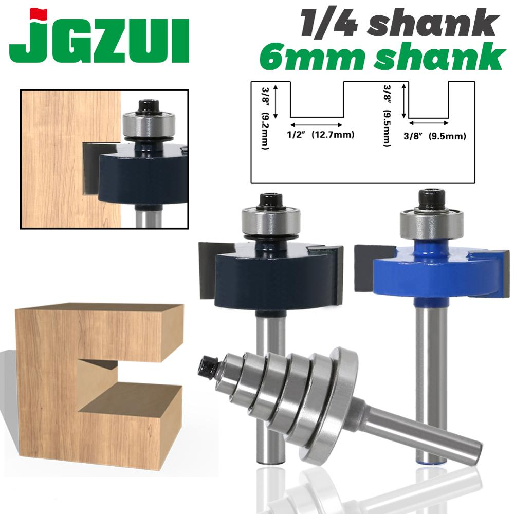"""Rabbet Router Bit With 6 Bearings Set - 1/4"""" Shank 6mm Shank Woodworking Cutter Tenon Cutter For Woodworking Tools"""