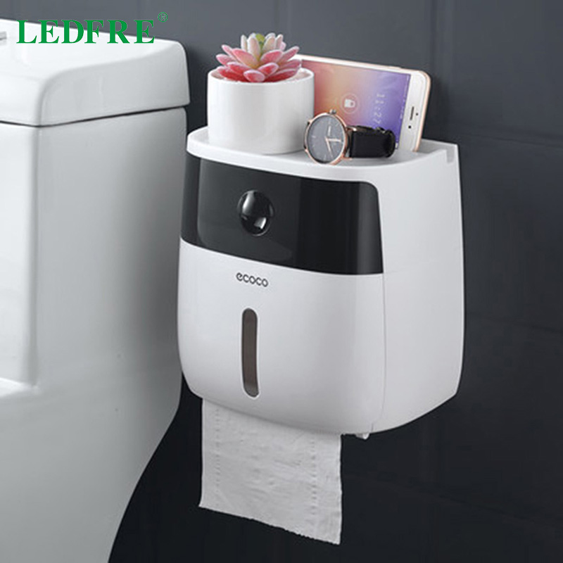 LEDFRE Plastic Toilet Paper Holder Bathroom Double Paper Tissue Box Wall Mounted Paper Shelf Storage Box Toilet Dispenser
