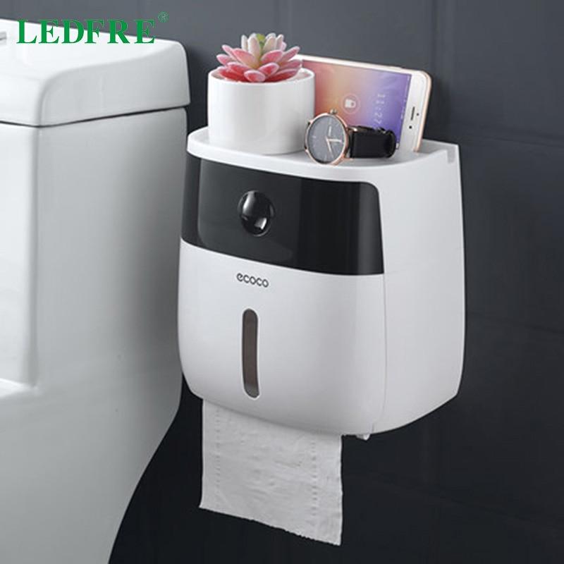 LEDFRE Plastic Toilet Paper Holder Bathroom Double Paper Tissue Box Wall Mounted Paper Shelf Storage Box Toilet Dispenser