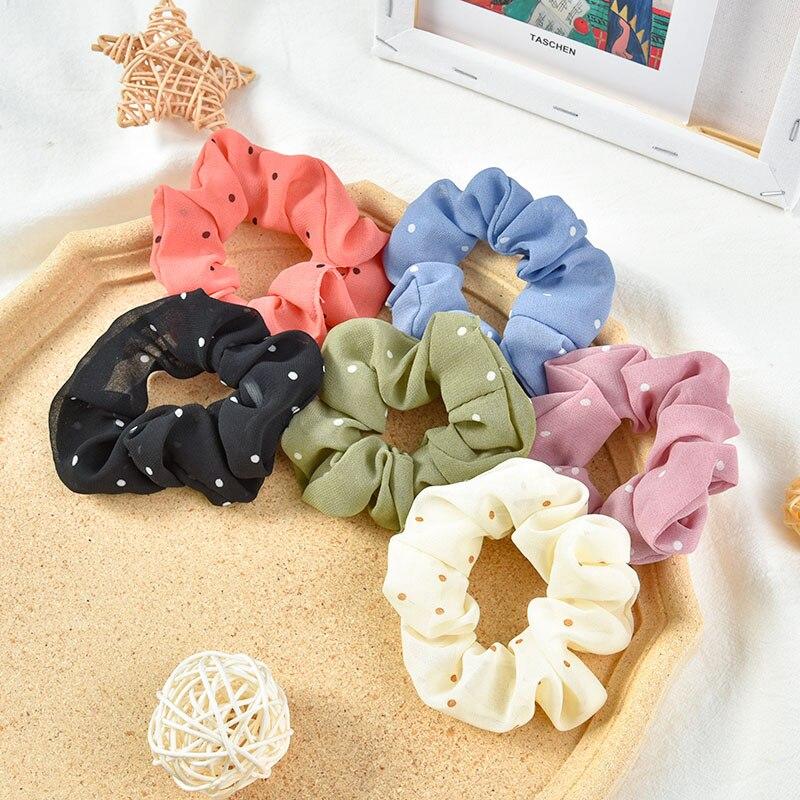 Summer Women Girls Colors Chiffon Fabric Lattice Printing Hair Bands Ladies Soft Scrunchies Rubber Bands Female Hair Accessories