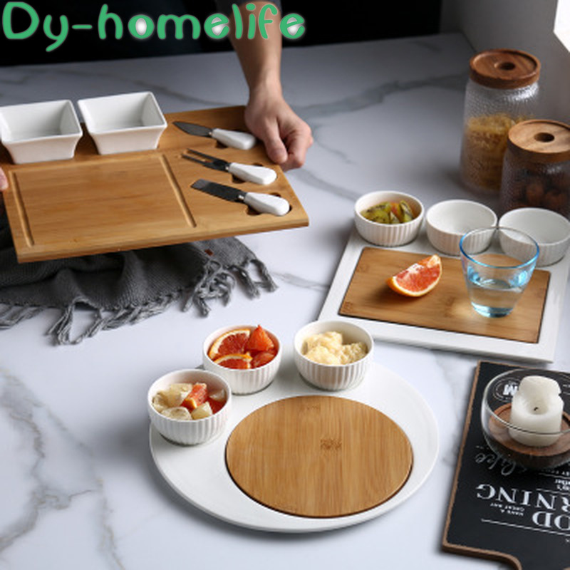 Ensemble de vaisselle en céramique | Plateau en bois nordique, service de table en céramique Restaurant maison assiette à Steak de l'ouest assiette d'assaisonnement couteau et fourchette