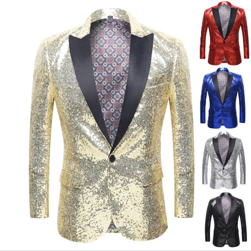 Men's Party / Club Luxury All Seasons Regular Blazer, Solid Colored Shawl Collar Long Sleeve Polyester