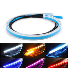 10PCs Built-in IC Driver Ultra Thin LED Strip DRL Flowing Turn Signal Lamp Super Bright Daytime Running Light Eyebrow Headlight