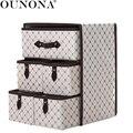 OUNONA нетканый трехслойный пять выдвижных ящиков секретный контейнер Органайзер (коричневый)