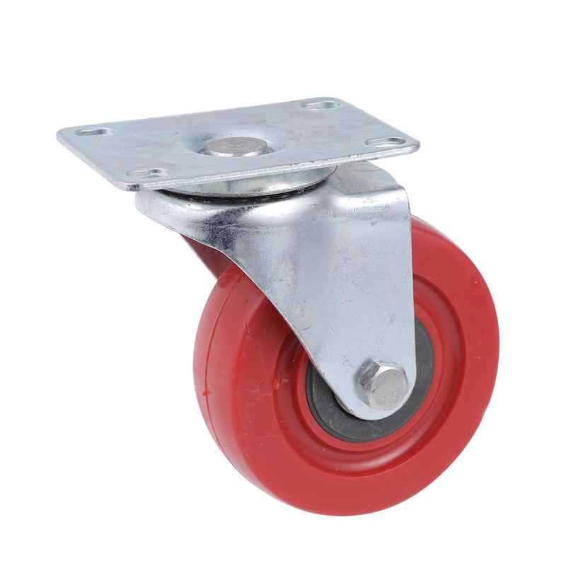 1Pcs Jujube Red Anti-Winding Universal 3Inch,4 Inch ,5 Inch Wheel Double-Axis Casters With Steering Braking Wheel