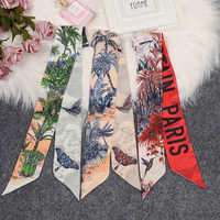 New Arrival Butterfly Dragonfly Print Silk-like Riband Scarves Letter Bags Scarf Small Ribbon Hair Band Belt Choker BD229