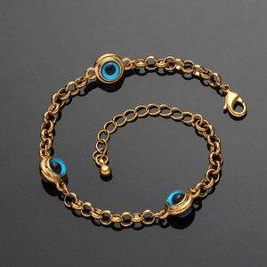 Image 4 - Blue Evil Eye Crystal Charm Allah Bracelets for Women Muslim Jewelry 3 Turkish Blue Eye Bracelet Gold Color Plated Never Faded