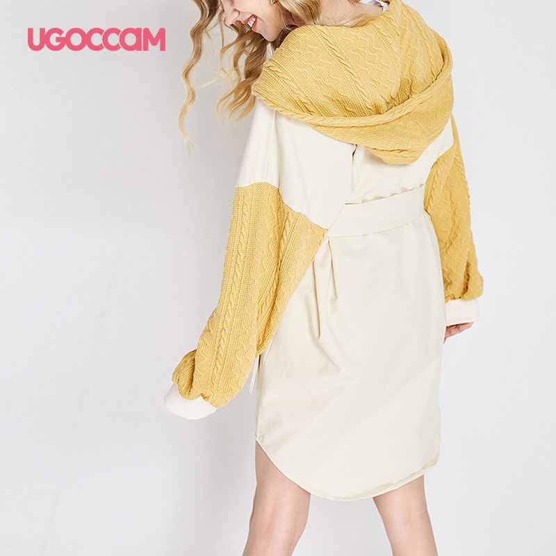 UGOCCAM Hooded Coat Yellow Women Coat Trench Oversize Splice Knitted Winter Windproof With Waistband Fashion Outwear Outdoor 8