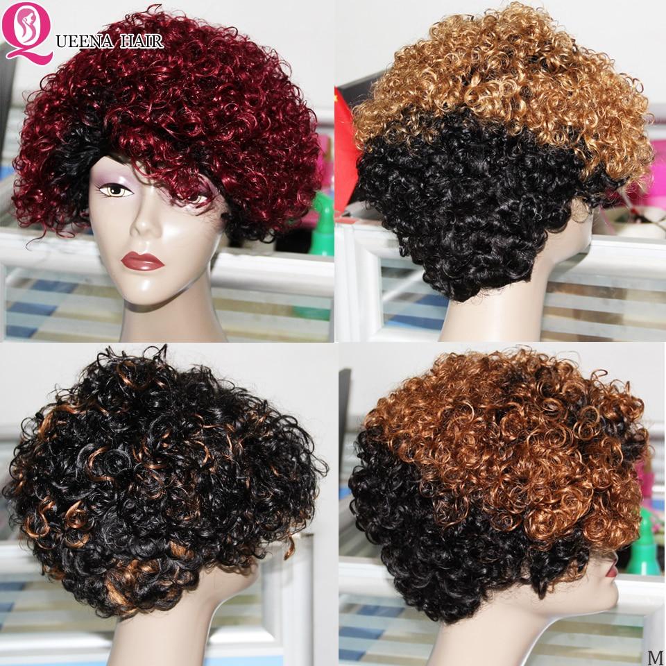 Bob curto ombre destaque loira peruca completa peruano encaracolado perucas de cabelo humano para as mulheres remy t1b 27 1b/99j cor máquina feita peruca bob