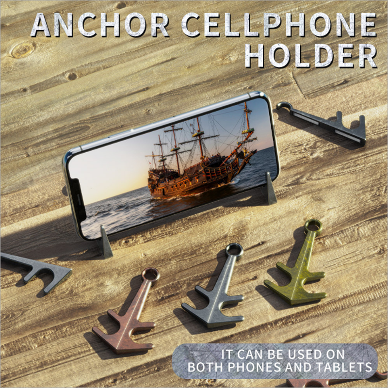 Magnetic Phone Stand Holder Creative Portable Retro Anchor Shaped Metal Mini Desktop Support Tablet Phone Holder Tripod Tool