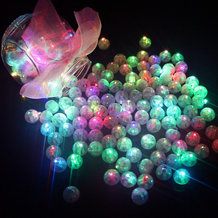 100 шт./лот круглые шарики, Светодиодные шарики, мини-фонарики для фонариков, украшения на Рождество, свадьвечерние ринку, белый, желтый, розов...