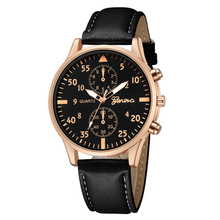 Top Luxury Brand Geneva Men Watches Men Sports Watches Leather Band Quartz Watch Mens Watches Montre Homme relogio masculino
