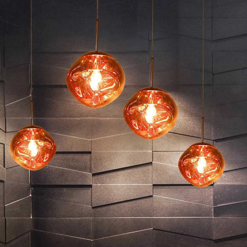 Modern LED Glass DIXON Melt Lava Pendant Lights Nordic Ball Loft Hanging Ceiling Lamps Creative Light Fixure Kitchen Accessories