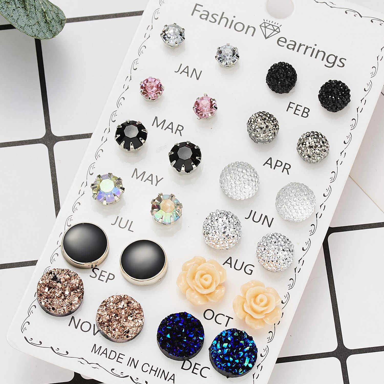 12 זוגות\סט קריסטל 2019 חדש אופנה עגילי סט נשים תכשיטי אביזרי פירסינג כדור Stud עגיל ערכת Ouro brincos