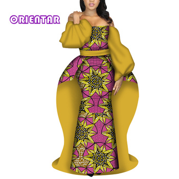 African Dress Women for Party Elegant Long Dress African Print Wedding Evening Dresses with Tail Women African Clothes WY5701