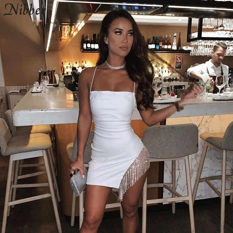 Nibber Musim Gugur Harajuku Rumbai Gaun Bodycon Wanita Seksi Klub Malam Pesta Murni Gaun Mujer 2019 Panas Elegan Renda Mini gaun