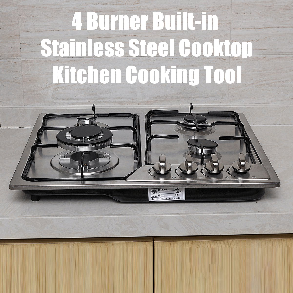 Built-in 4 Burner Cooktop 58x50cm Stainless Steel Gas Stoves Natural Gas Hob Kitchen Cooking Appliance Gas Cooker Cookware
