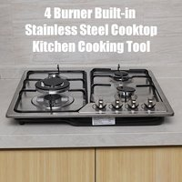 Built in 4 Burner Cooktop 58x50cm Stainless Steel Gas Stoves Natural Gas Hob Kitchen Cooking Appliance Gas Cooker Cookware