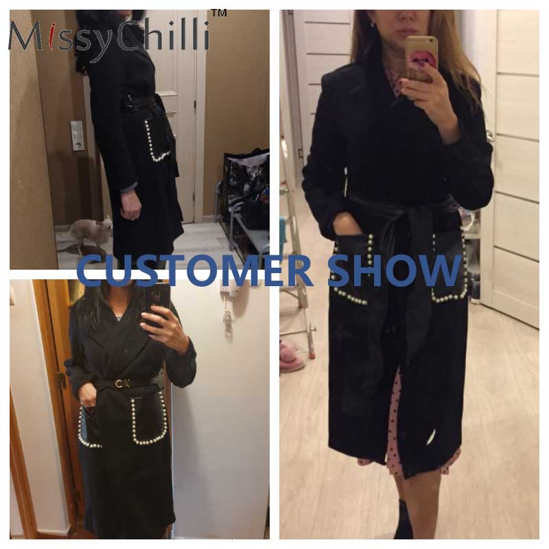MissyChilli Black sexy coat long Pu leather belt warm elegant outwear Women autumn winter elegant v