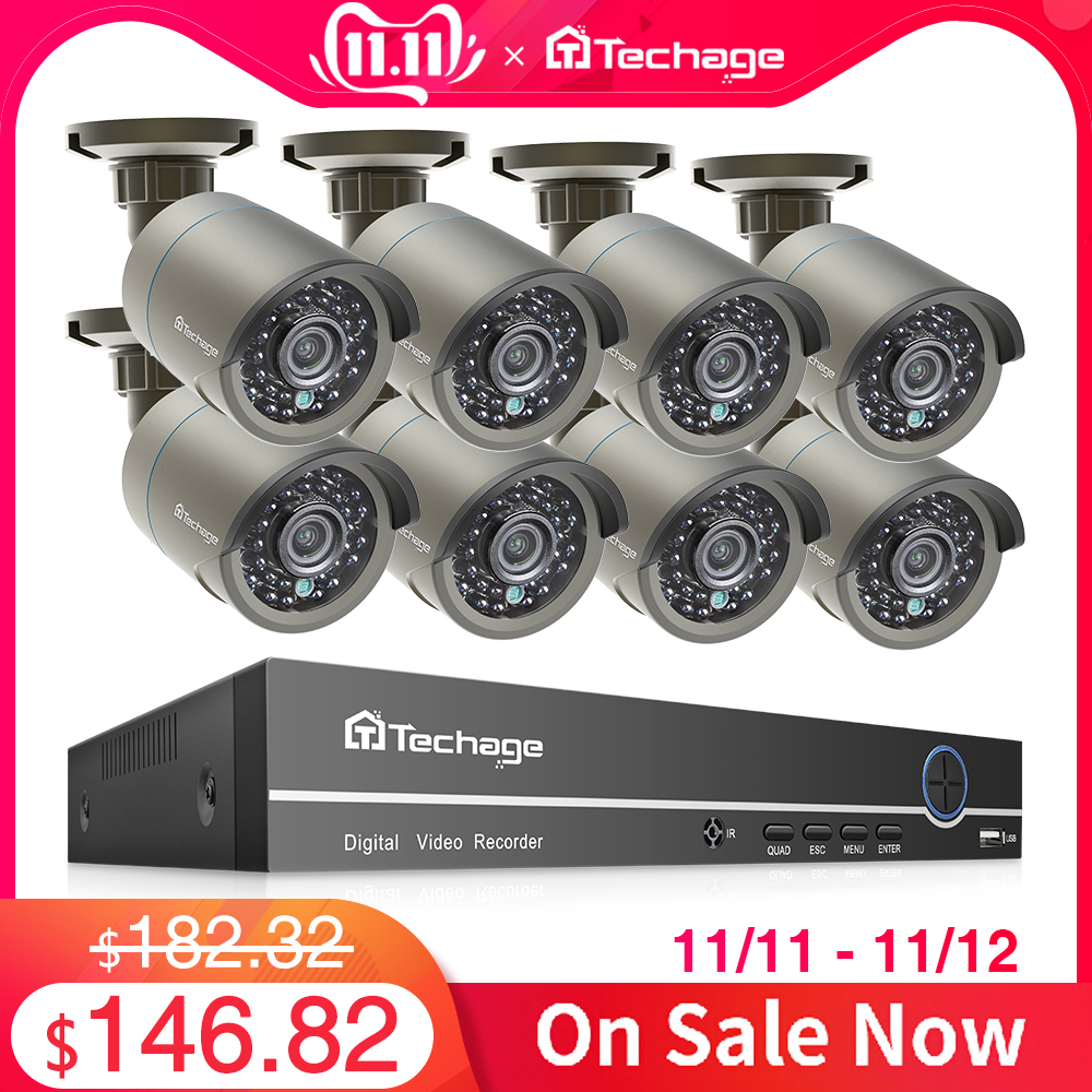 Techage H.265 8CH 1080P HDMI POE NVR Kit CCTV Security System 2MP IR Outdoor Audio Record IP Camera P2P Video Surveillance Set