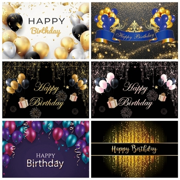Laeacco Gold Black Balloons Ribbon Happy Birthday Celebration Party Photography Backdrops Customized Photo Background Banner