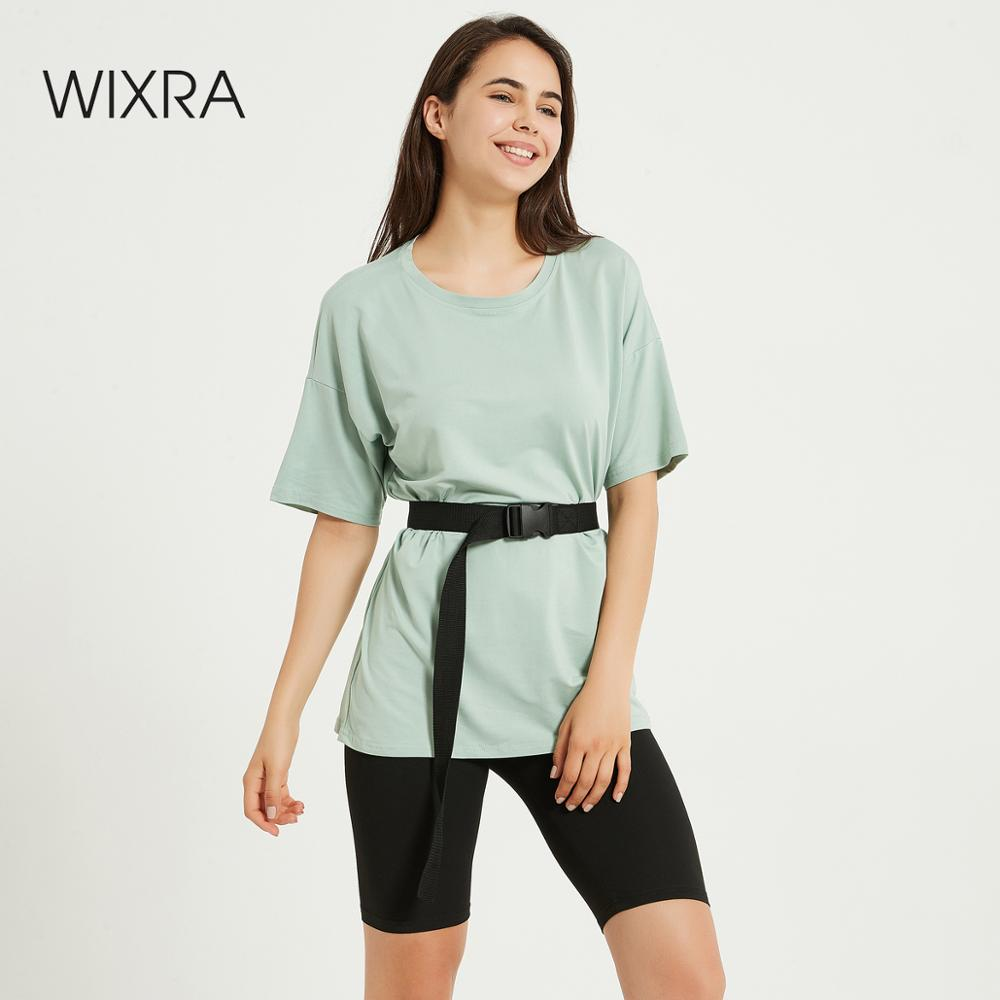 Wixra Womens Suits Leisure Wear Suit With Sashes Short Sleeve Tee+Shorts Casual Wear Womens Two Pieces Sets Summer 1