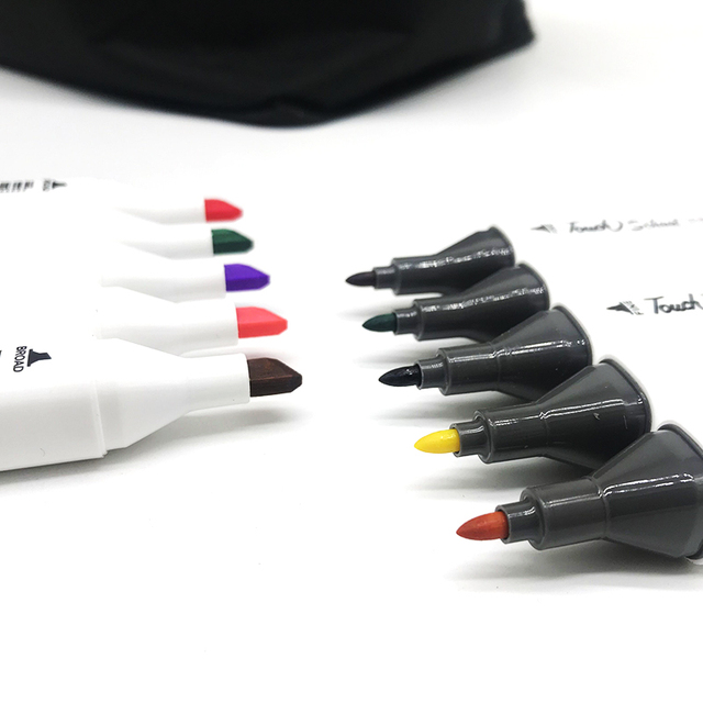 1pc TOUCHSchool colors matching Art Markers Brush White Pen Sketch Alcohol Based Markers Dual Head Manga Drawing Art Supplies 1
