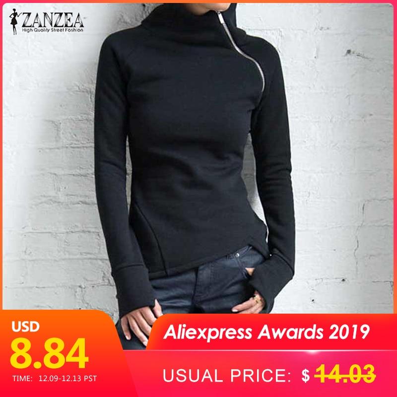 ZANZEA 2019 New Women Casual Solid Long Sleeve Pullovers Hoodies Turtleneck Slim Fit Zippers Autumn Spring Plus Size Sweatshirts