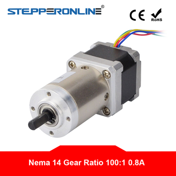 Nema 14 Stepper Motor 100:1 Planetary Gearbox Nema14 Geared Stepper Motor 0.8A L=33mm for CNC Robotic image