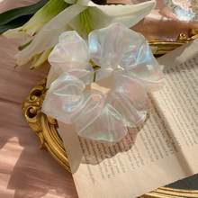 1pcs Women Shining White Organza Rubber Band Hair Accessories Solid Bands Color Ties Hair Hair U2O9(China)